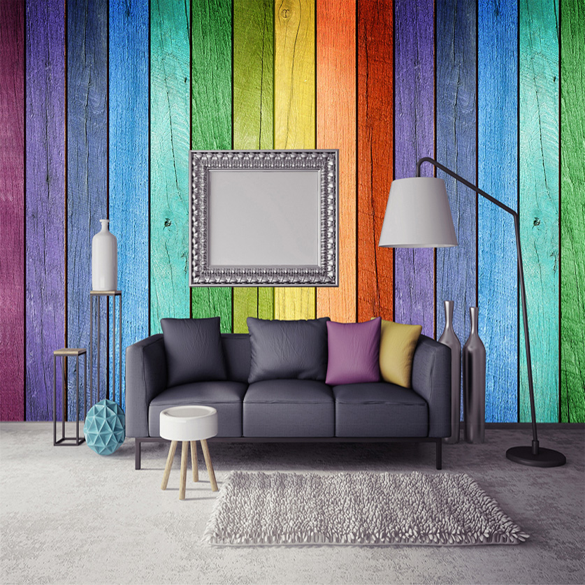 Rainbow Colored Wood Board Wallpaper Modern Art Interior Decoration Wall  Painting Wall Mural Wall Papers Home Decor Living Room In Wallpapers From  Home ...