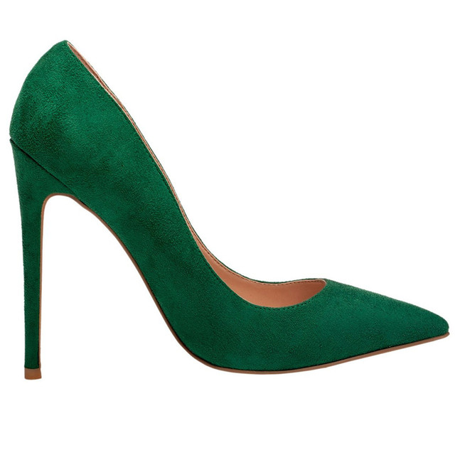 160df6e02cf Mavirs Suede Leather Shoes Women Fashion 2018 Vigour Green Color 12cm High  Heels Pointed Toe Pumps Slip-On Dress Pumps