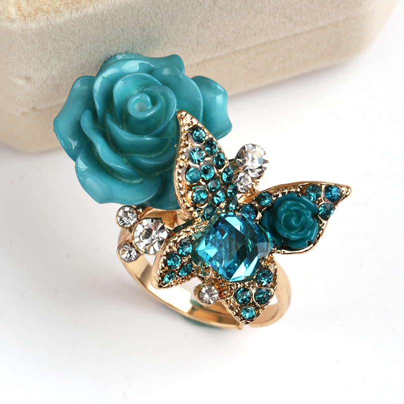Free Shipping Flowers and Butterfly Shape Ring for Women Made of Alloy
