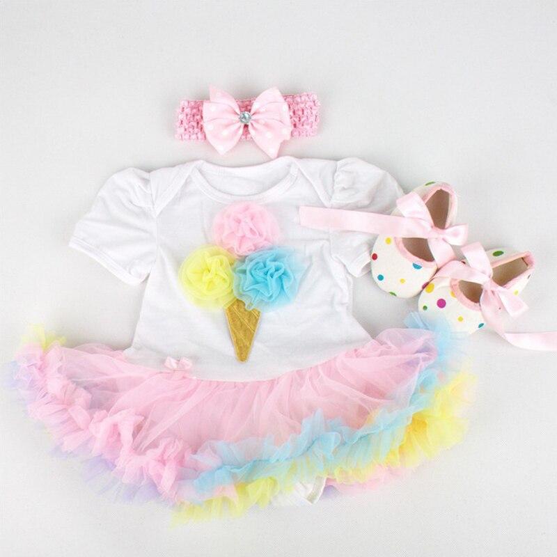 Phertiful мороженое костюм для маленьких девочек Кружево комбинезон платье повязка Обувь для младенцев новорожденных пачка Наборы для ухода за...