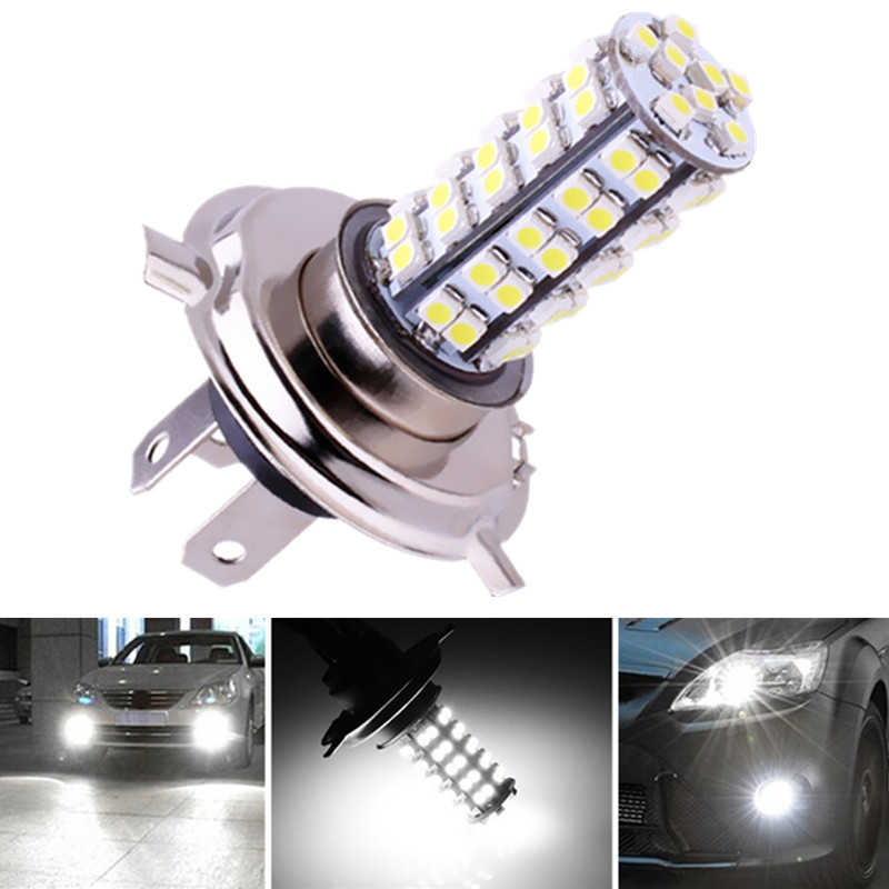H4 68 SMD White Fog Signal Tail Driving LED Lamp Bulb Auto Car Led Bulbs Car Light Source Parking 12V 6000K Head Lamps