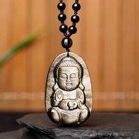 Koraba Fine Jewelry Chinese Natural Black Gold Obsidian Hand Carved Blessing Baby Buddha Pendant Free Shipping