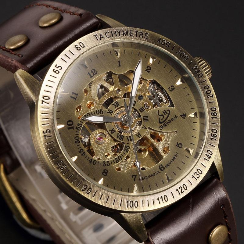 Automatic Movement Analog Wristwatch Genuine Leather Wristbands Women Mens Gifts W15270