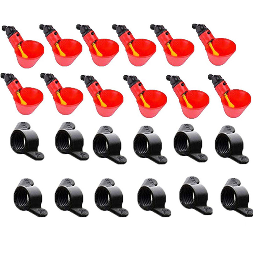 Feed Automatic Bird Coop Poultry Chicken Fowl Drinker Water Drinking Cups 12Pcs #2l16 (7)