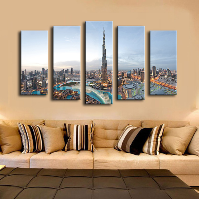 5pcs khalifa tower dubai best hotels wall painting for home decor oil painting wall art print - Home Decor Dubai