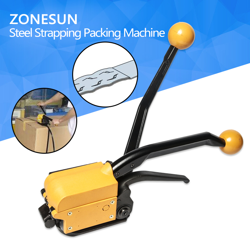 ZONESUN A333 buckle-free steel strapping tool / A333 steel strapping manual box strapping machine portable manual steel strapping tool seal free 1 2 3 4 handheld packaging equipment without seals steel banding machine a333