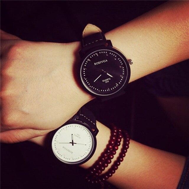 2017 new Leather Watch Women dress watches clock men student fashion Casual ladi