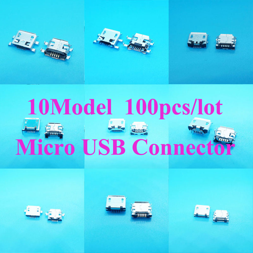 10Model Micro USB Connector Female 5Pin 7pin Usb Jack Charging Port for Samsung MP3/4/5 Huawei Lenovo Mobile Phone