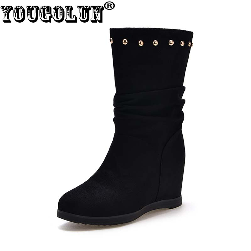 YOUGOLUN Women Ankle Boots 2017 New Autumn Winter Wedges Heel 6 cm Rivets Round toe High Wedge Heels Black Wine Red Shoes #Y-149 hxrzyz autumn ankle boots women increased wedges new round toe thick heel female anti skid side zipper shoes black winter boots