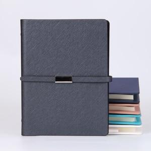 Image 3 - Pu Leder Lose Blatt Notebook Hardcover Journal ring binder Holzfreies Papier Clip planer Individuelles Logo Metall Magnet Schnalle