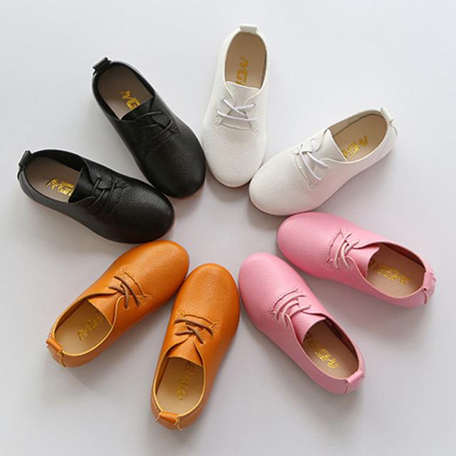 2017 primavera bebê de couro shoes lace up crianças meninas apartamentos sapatos mocassins estilo britânico infantil casual shoes crianças meninos enfant