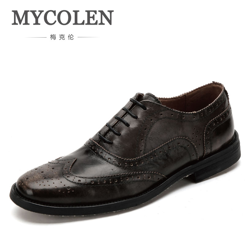MYCOLEN Modern Gentlemen Formal Brogue Shoes Oxfords Genuine Handmade Fashion Brand Leather Mens Wedding Party Dress Shoes ManMYCOLEN Modern Gentlemen Formal Brogue Shoes Oxfords Genuine Handmade Fashion Brand Leather Mens Wedding Party Dress Shoes Man