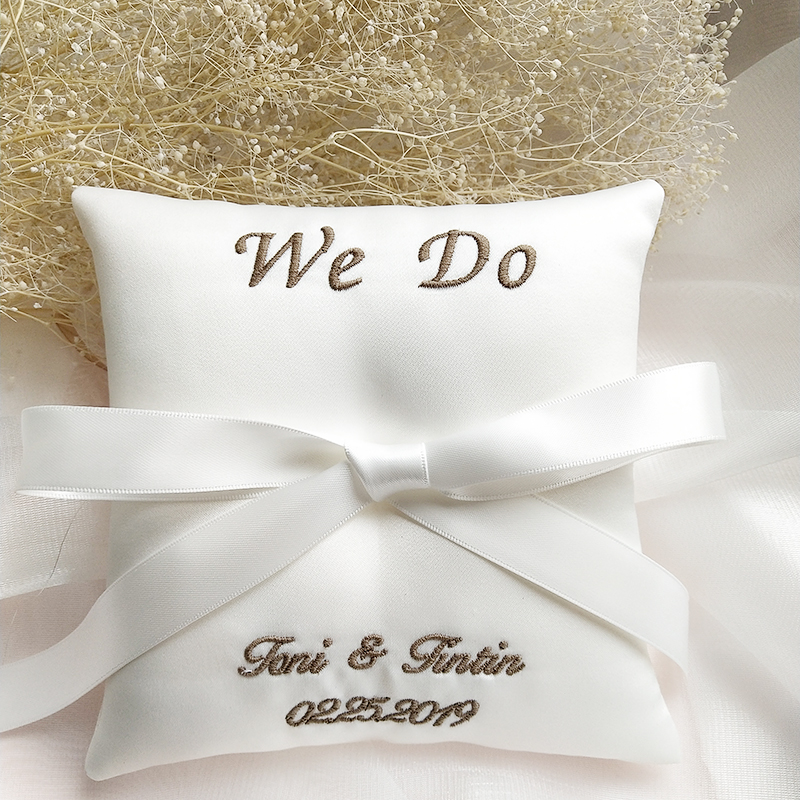 Customized Ring Pillow Embroidered word Name date Bridal Ring Pillows Cushion Valentine Day Festive Supplies Wedding Decoration
