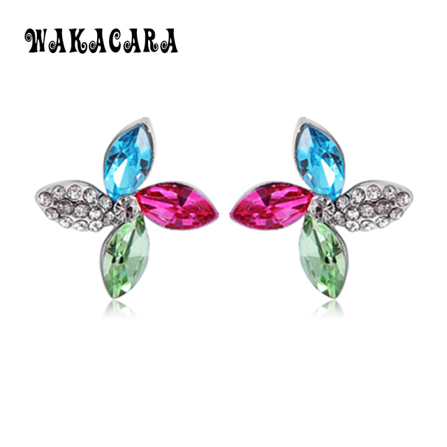New Silver Color Crystal Stud Earrings For Women Statement Colorful Clover Online Ping India Bijuteria Feminina