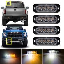 White Amber 4LED Car Truck Emergency Beacon Warning Hazard Flash Recovery Strobe Light BARS 12V  waterproof стоимость