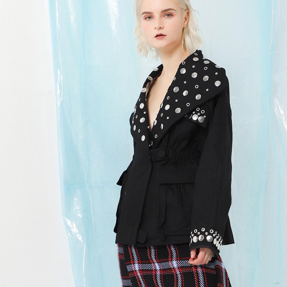 Femelle Oeillet Longues Mode Veste Manches 2018 Automne Printemps Manteau Vestes Grandes Tailles Streetwear À Femmes Rivet Pour Revers E5Eq8