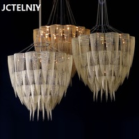 Modern creative tassel chain chandelier living room chandelier bedroom lights restaurant chandelier model room hotel lamp lights