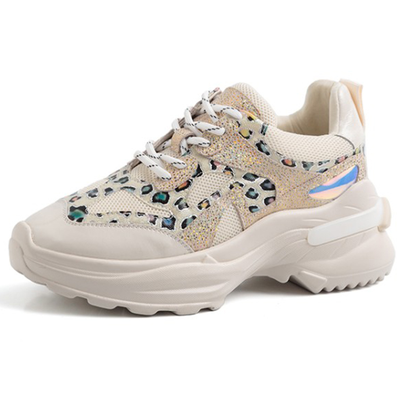 2019 Printemps Style Bout Rond Noir Beige Chunky Sneakers Papa Chaussures Véritable En Cuir Panier Femme Femmes Vulcaniser Chaussures GO2H936