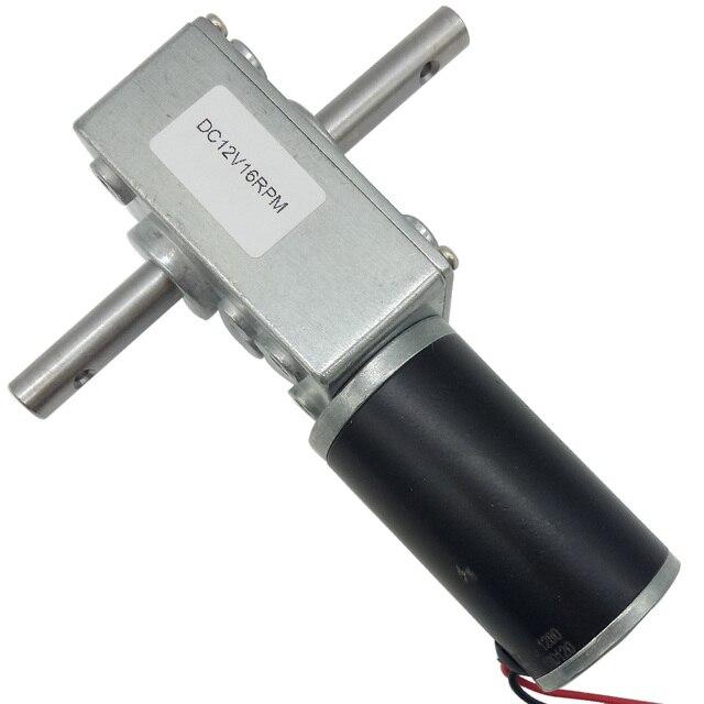 더블 샤프트 높은 토크 웜 기어드 모터 24V 12 볼트 5 470RPM 자동 잠금 자동 건조 랙에 대 한 반전 된 속도