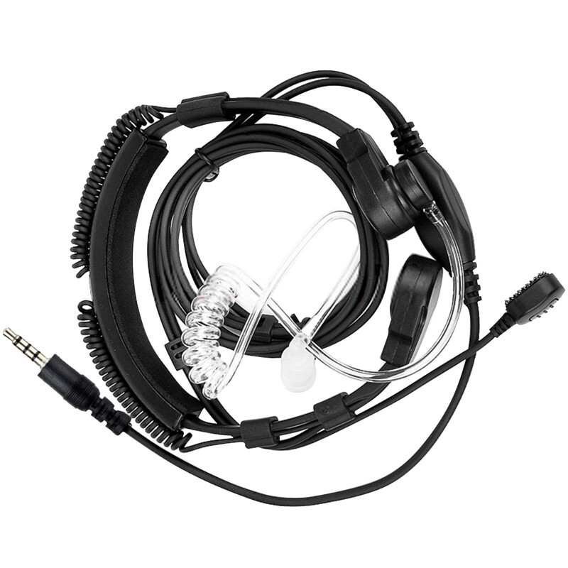 3,5mm Einstellbare Throat Mic Mikrofon Covert Akustische Rohr Ohrhörer Headset Mit Finger PTT für iPhone Android Handy