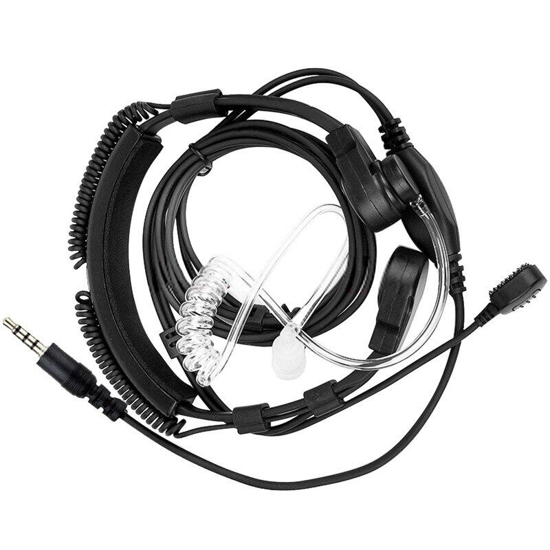Ajustable de 3,5mm la garganta Mic micrófono de tubo acústico encubierto auricular con el dedo PTT para iPhone Android teléfono móvil