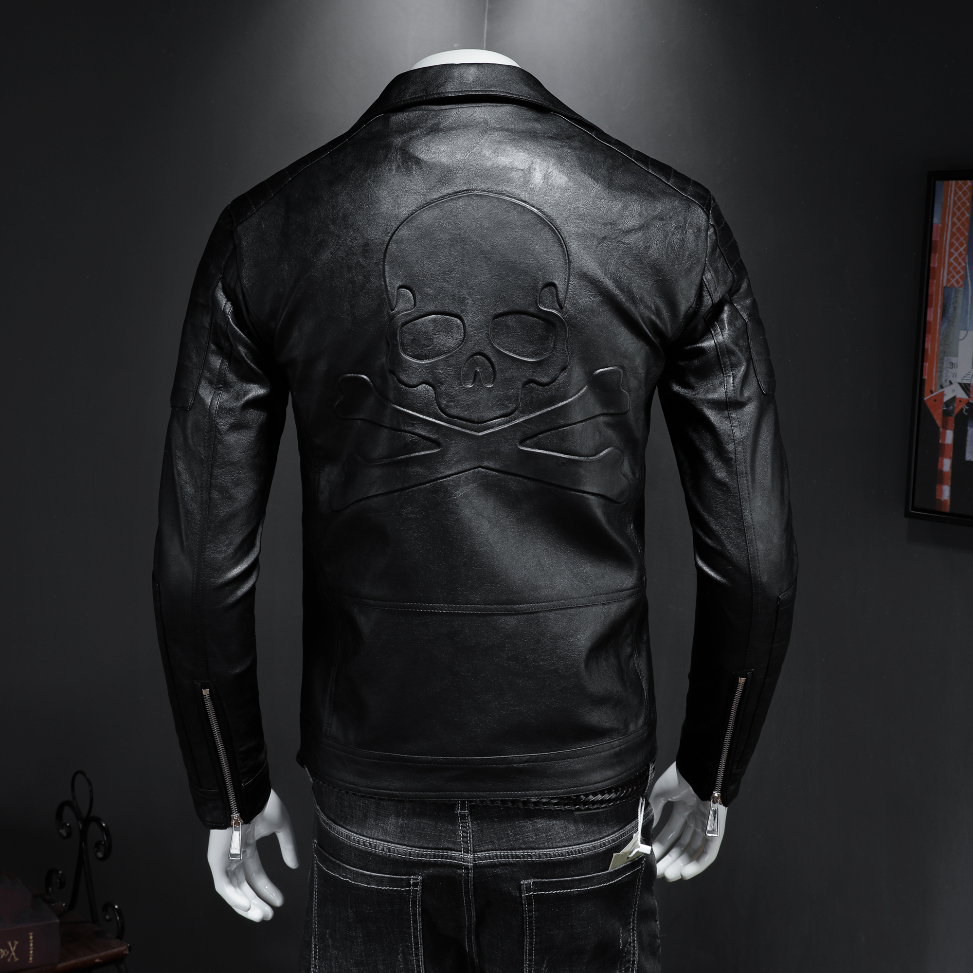 2019 New Men's Motorcycle Leather Jacket, Boomer Men Slim Lapels Leather Jacket Skull Punk Style High Quality