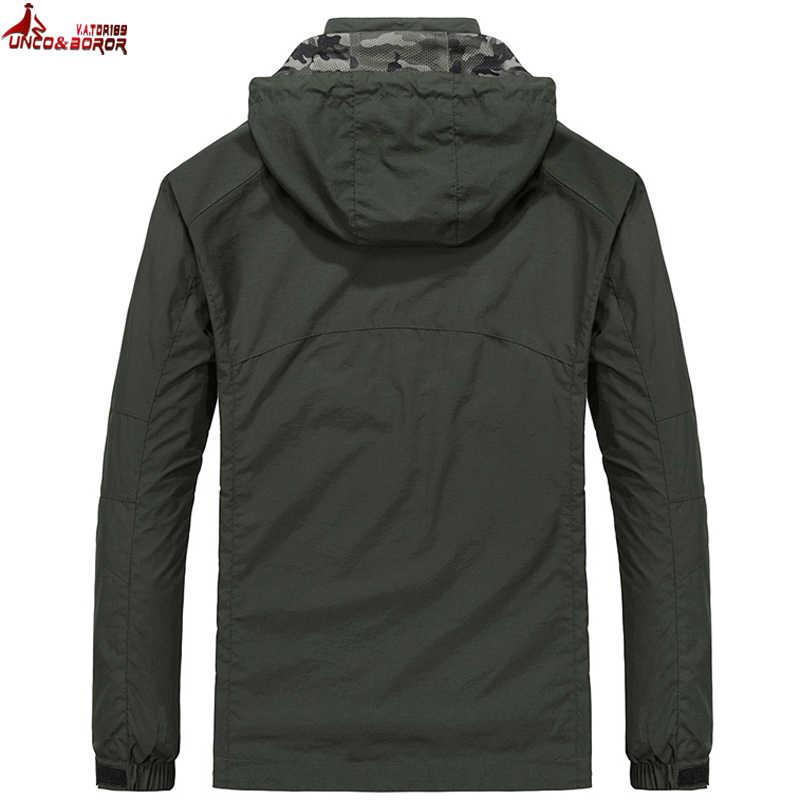 UNCO & BOROR размера плюс M ~ 6XL куртка мужская с капюшоном куртки Slim Fit Военная ветровка тонкое Мужское пальто брендовая одежда