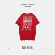 SODA WATER Funny Letter T-shirt 2019 Mens Clothing Fashion Summer Top Harajuku Fashion Casual O-Neck Pattern Printed Tee 9110S