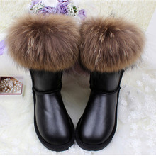 Winter Luxury Ultralarge Natural Fox Fur Snow Boots Genuine Leather Women Middle Calf  Boots Real Fur Snow Boots Women's Shoes