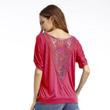 New Arrival Women Summer Loose Short Sleeve  Sexy Hollow Lace Back Casual Tops Plus Size 5XL