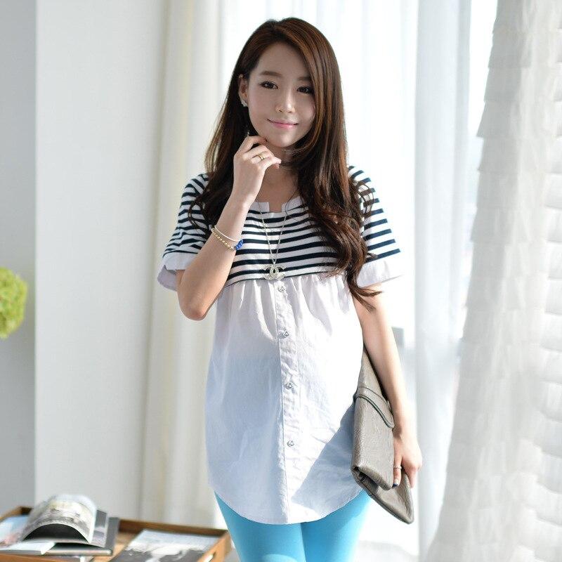 7cbd0e5441 Tarja maternidade de manga curta vestidos Navy vento moda gravidez vestidos  verão novo mulheres grávidas roupas coreano Casual camisa em Vestidos de  Mãe ...