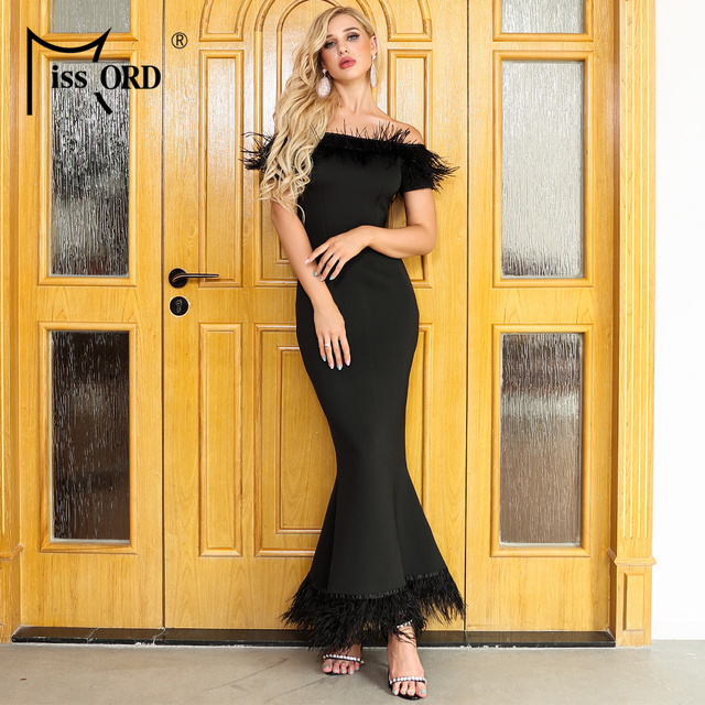 Missord 2019 Women Sexy Slash Neck Off Shoulder Feathers Dresses Female Elegant Maxi Party  Dress FT19501-1 1
