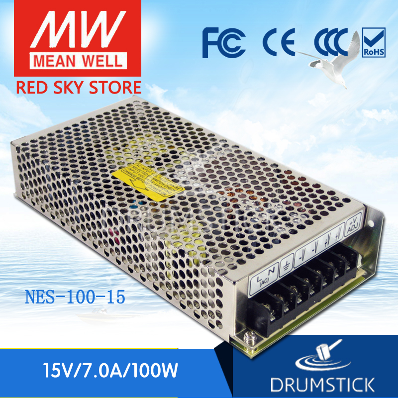 Hot! MEAN WELL NES-100-15 15V 7A meanwell NES-100 15V 105W Single Output Switching Power Supply [freeshipping 1pcs] mean well original rs 25 15 15v 1 7a meanwell rs 25 25 5w single output switching power supply