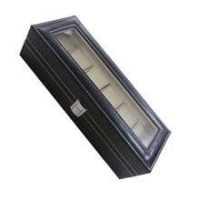 時計ケース革の腕時計ボックスジュエリーボックスのギフト (6コンパートメント 黒)