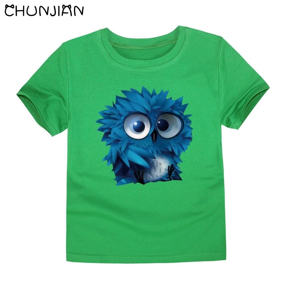 CHUNJIAN kids short sleeve T shirt children owl animal T