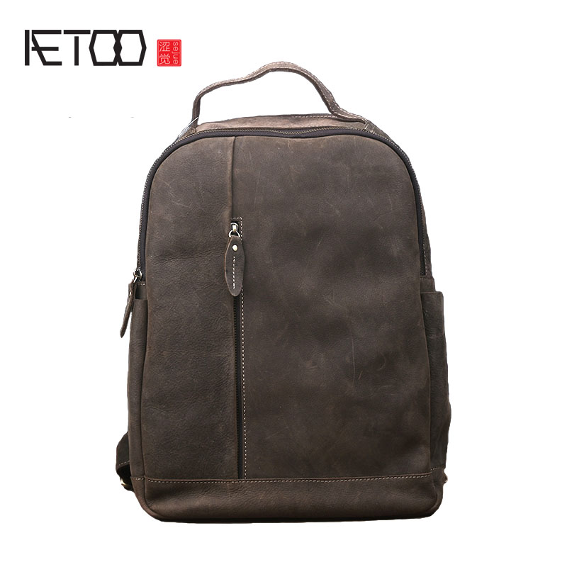 AETOO Retro leather shoulder bag men fashion trend tourism large-capacity bag leisure backpack ladies leather travel bag aetoo original first layer leather backpack men cow leather shoulder bag retro backpack travel bag leisure large male bag