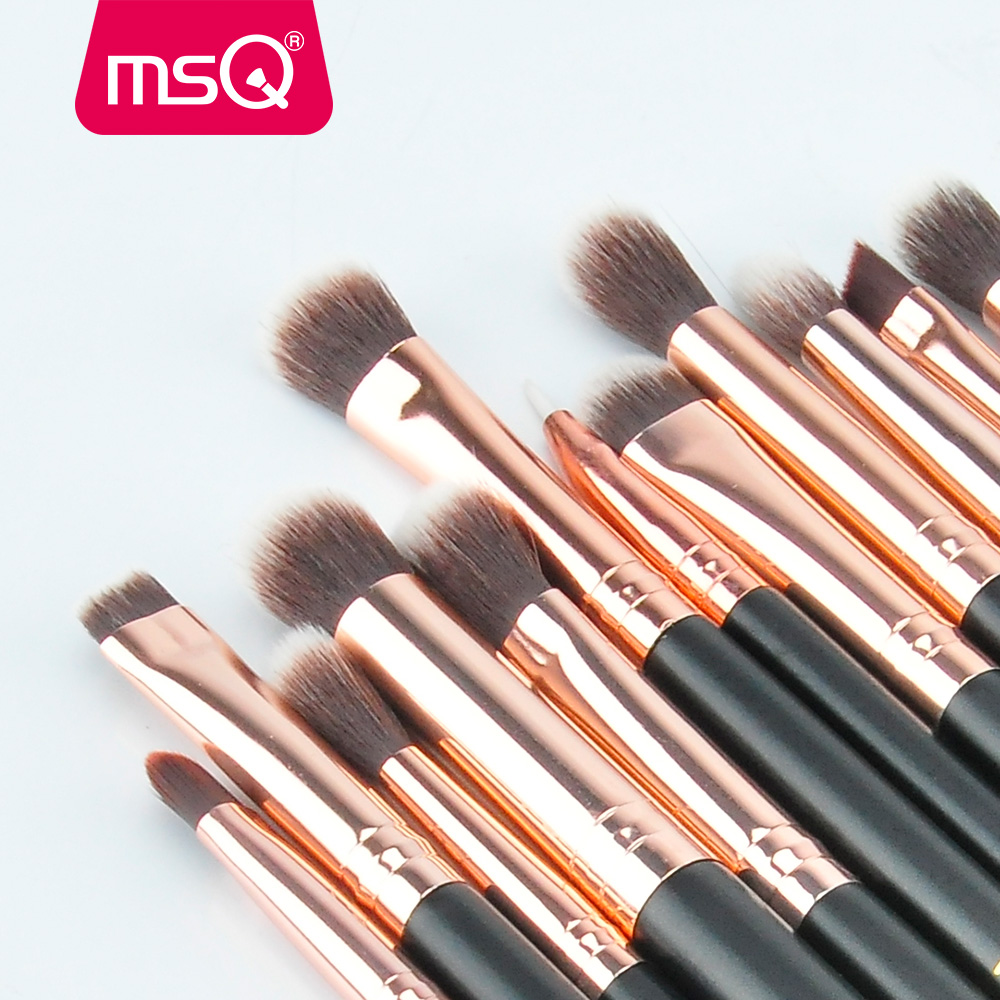 MSQ 12st Eyeshadow Makeup børster Set pincel maquiagem Pro Rose Gold - Makeup - Foto 4