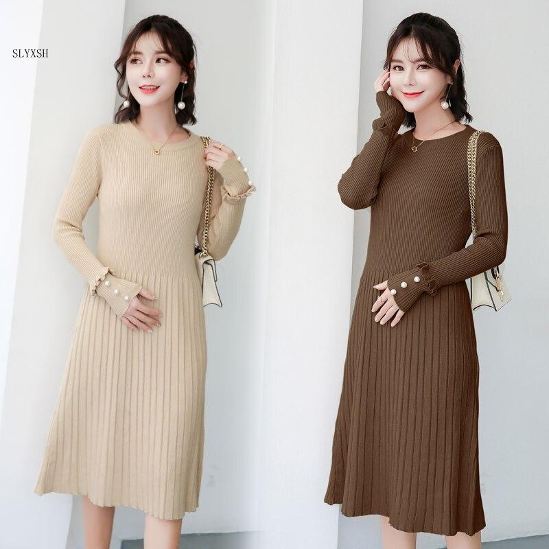 Maternity wear autumn winter long sweater knit bead sweater Knitted Maternity Dress Clothes for Pregnant Women Charming Dress Одежда для беременных