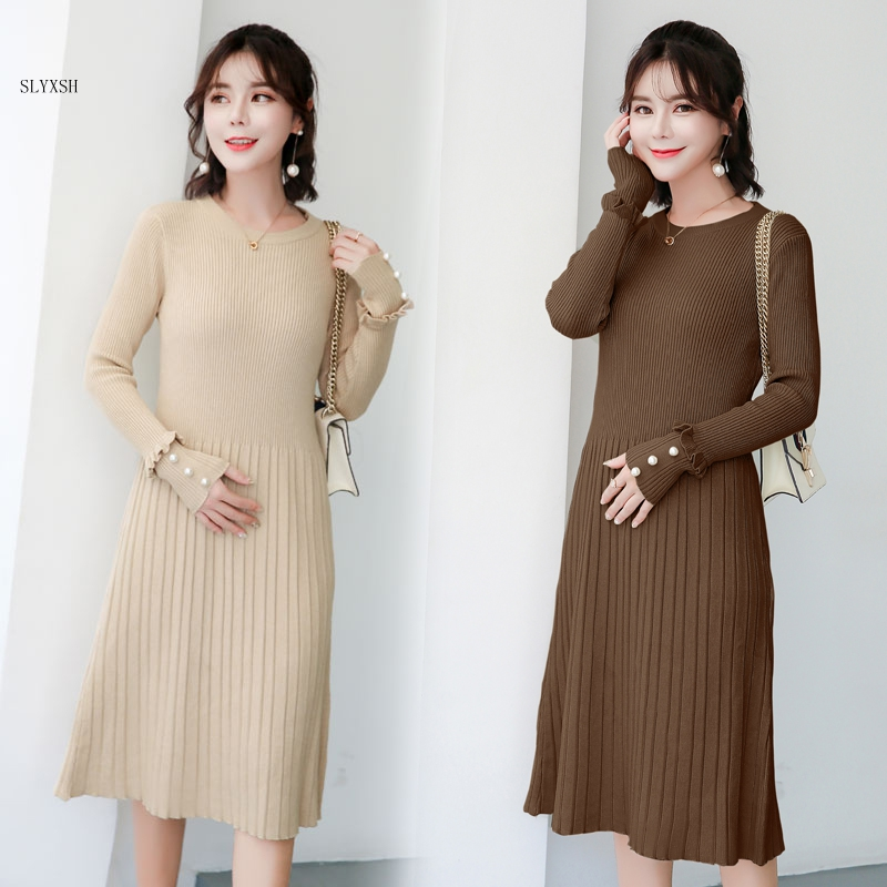 Maternity wear autumn winter long sweater knit bead sweater Knitted Maternity Dress Clothes for Pregnant Women Charming Dress maternity clothes fall pregnant women sweater knitting dress autumn winter knitted female loose warm pullover cute lady dresses