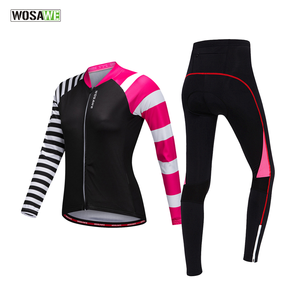 Clearance! WOSAWE Women Cycling Jersey Bicycle MTB Bike Jersey Gel Pad Cycling Shorts Cycling Clothing Triathlon Ropa Ciclismo