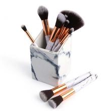 Portable Marbling PU Makeup Cylinder Organizer Cosmetic Brushes Storage Box Makeup Brush Blender Holder Bathroom Case Box emily portable 7 in 1 cosmetic makeup brushes set w cylinder case blue golden black