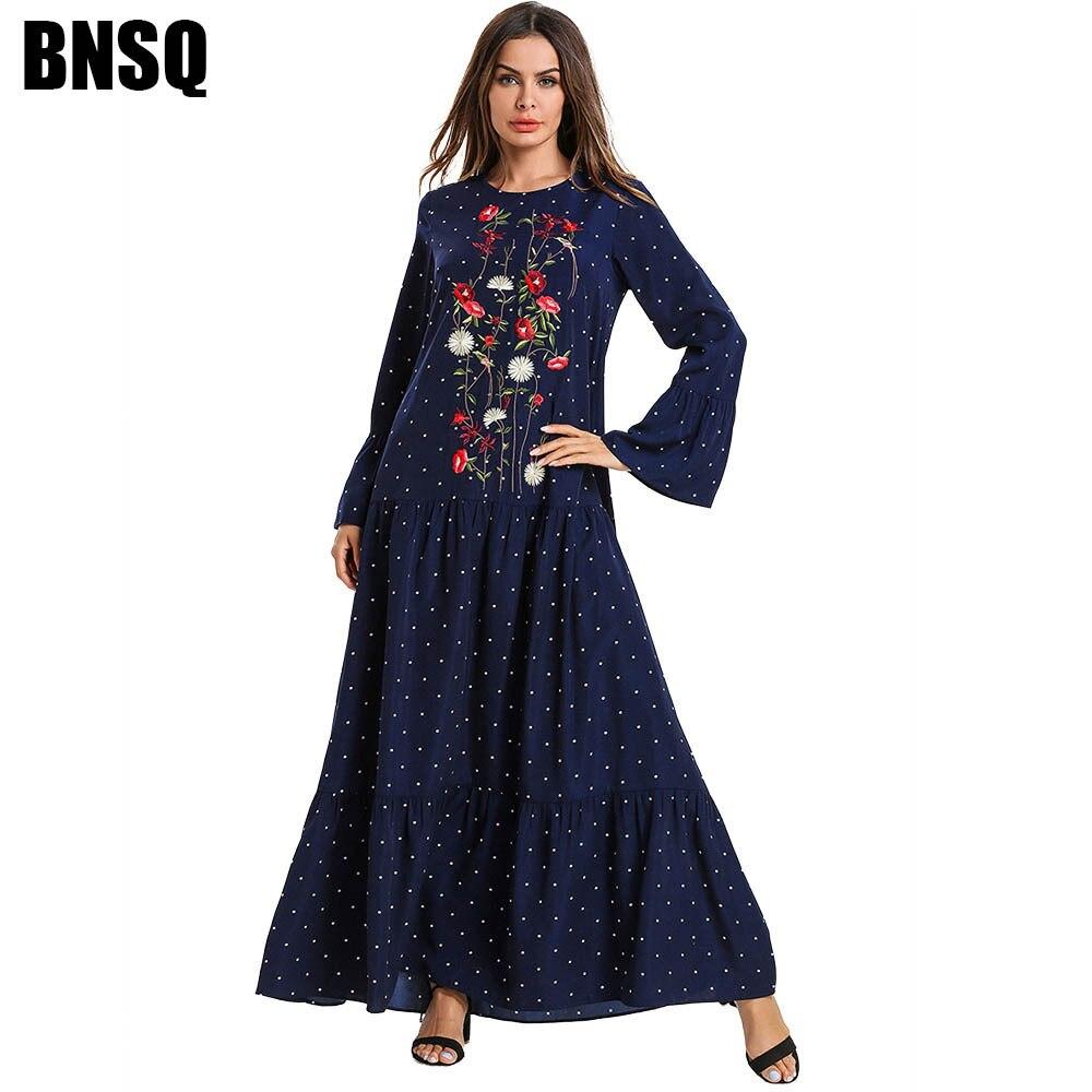 Muslim Abaya Dot Print Embroidery Maxi Dress Trumpet Sleeve Kimono Long Robes Jubah Ramadan Middle East Arab Islamic Prayer