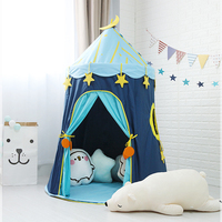 Large Moon Stars Children Play Tent Kids Foldable Pop Up Castle Playhouse Best Indoor Outdoor Beach Toy Girls Baby Gift, Blue