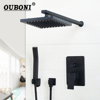 Square Black Wall Mounted Bathroom Rainfall Shower Faucet Sets 8 10 12 Inch Oil Rubbed Bronze