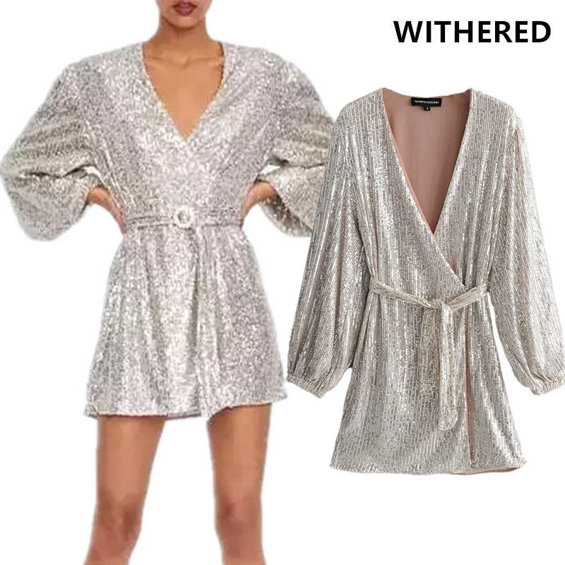 Withered england style Sequins silver dress women vestidos v-neck sexy sashes vestidos de fiesta de noche party dress plus size