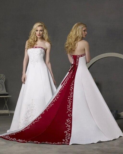White and Red Wedding dress A Line Bridal Gown Satin Vestido de novia Trouwjurk Brudekjole Hochzeitskleid louisvuigon