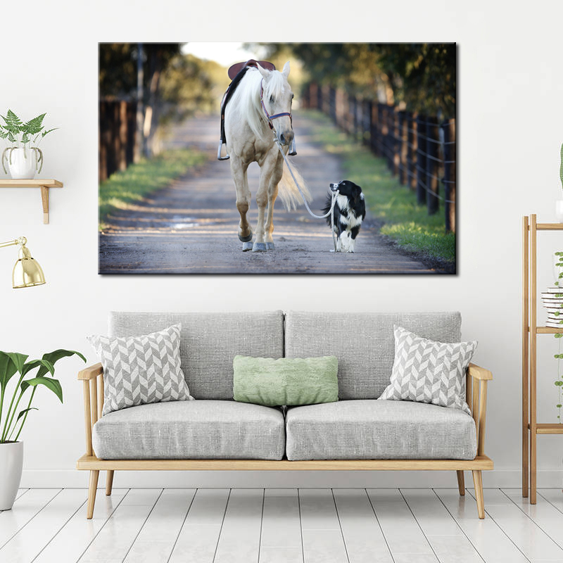 Modern Posters and Prints Wall Art Canvas Painting Wall Decoration The Dog Leads The Horse Pictures for Living Room Frameless