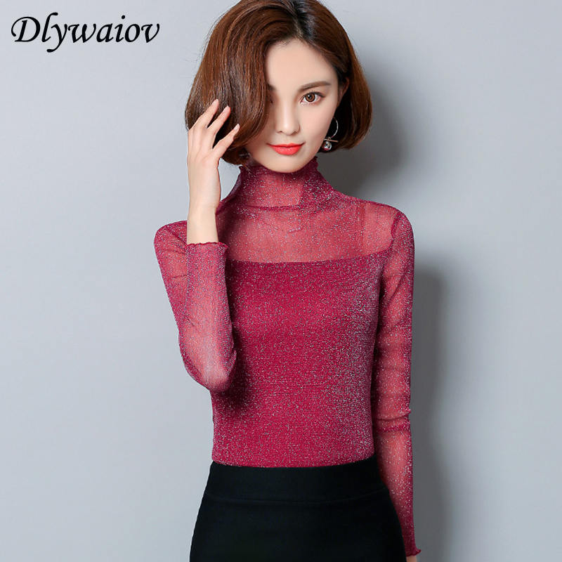 Half Turtleneck Women <font><b>Blouse</b></font> <font><b>2019</b></font> spring <font><b>Sexy</b></font> Transparent <font><b>Mesh</b></font> Wild Bottoming Shirts Solid Plus Size Slim <font><b>splice</b></font> Female Tops image