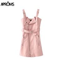Aproms Autumn V Neck PU Leather Dress Women Black Zipper Mini Sexy Dress Sash Winter Pink