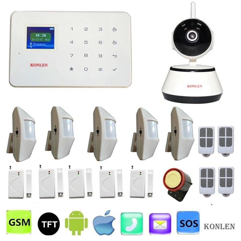 bilder für G18 Wireless Gsm Alarmanlage PIR Tür Sirene mit Überwachungskamera Ip Wifi für Haus Residencial Intruder Alarme.